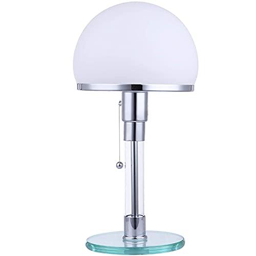 LED Tischleuchte Tischlampe Echtglas Schreibtischleuchten, Weiß Rund...
