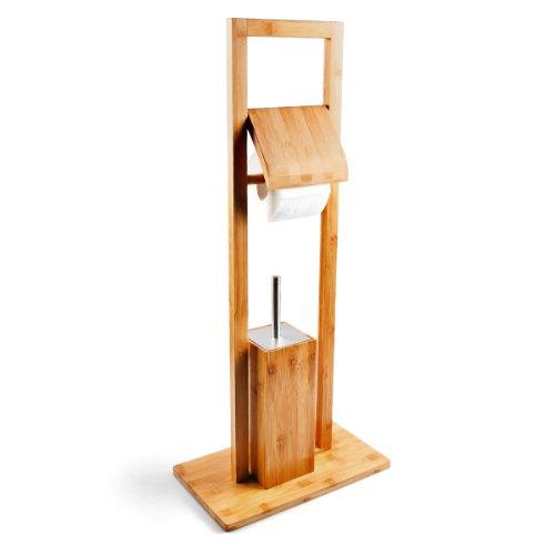 Relaxdays WC Garnitur aus Bambus, HBT: 82 x 36 x 21 cm, Standgarnitur...