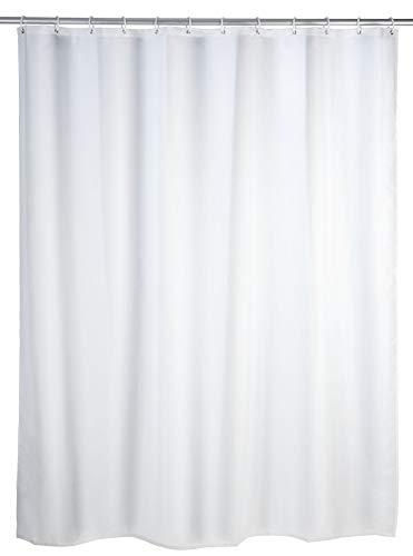 WENKO Duschvorhang Uni Weiß - Textil , waschbar, wasserabweisend, mit...