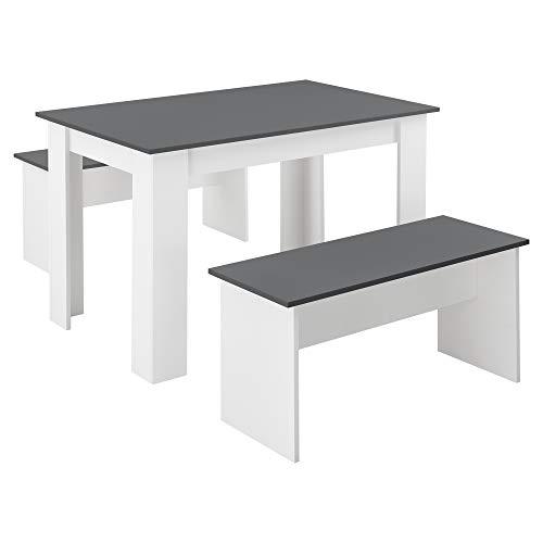 [en.casa] Tisch- und Bank Set 3 teilig Essgruppe für 4 Tisch 110 x 70...