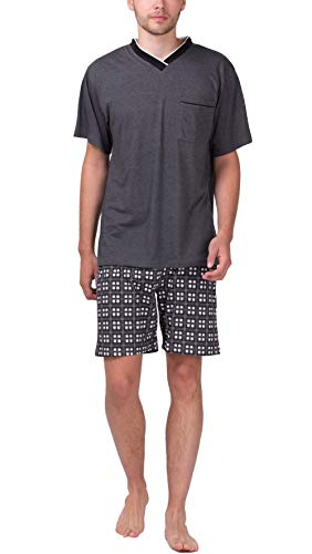 Moonline - Herren Shorty Schlafanzug Kurz Pyjama mit Karierter Hose,...
