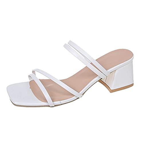 FNKDOR Quadratischer Zeh Sandalen Damen Sommer Elegant Sandaletten...