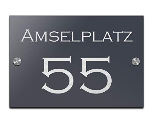 Hausnummer mit Gravur Straße und Ziffern Zahlen wetterfest in versch....