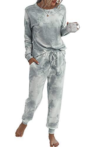 Spec4Y Pyjama Damen Zweiteilige Nachtwäsche Tie Dye Druck Langarm...