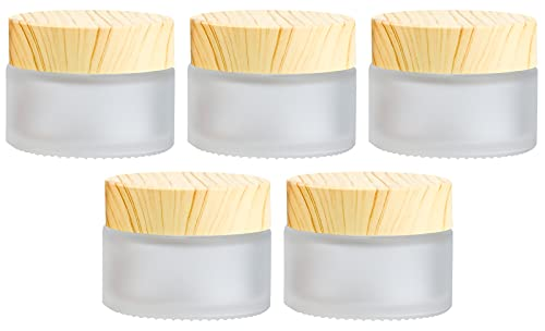 Winfred 5 Stück Glastiegel mit Bambusdeckel für DIY-Naturkosmetik...