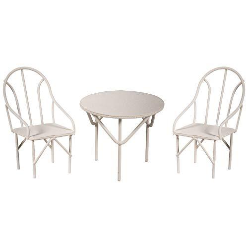 Rayher 46234102 Set Miniatur-Gartenmöbel, Sitzgruppe 3tlg., weiß, 2...