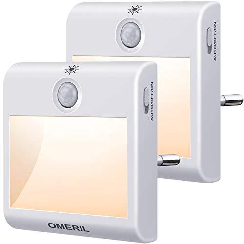 Nachtlicht Steckdose mit Bewegungsmelder, OMERIL 2 Stück...