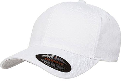 Yupoong Flexfit Kappe aus Baumwolltwill - Weiß - Small