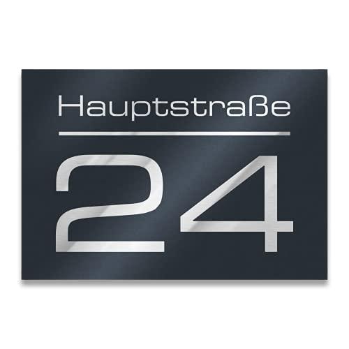 Metzler Hausnummer in Anthrazit - Hausnummernschild mit Gravur -...