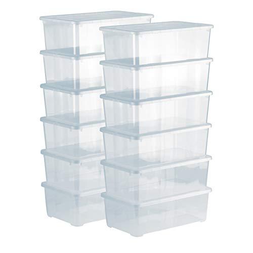 Grizzly Aufbewahrungsboxen 12 x 5 L mit Deckel transparent -...