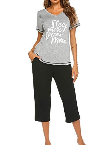 UNibelle Damen Schlafanzug Pyjama Set Kurzarm 3/4 Hose Sleepwear