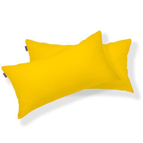 BRIELLE 2er Set 100% Baumwolle Kissenbezug 40 x 80 cm, Gelb -...
