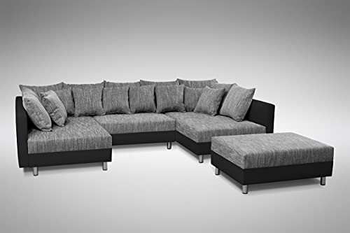 Küchen-Preisbombe Sofa Couch Ecksofa Eckcouch in schwarz/hellgrau...