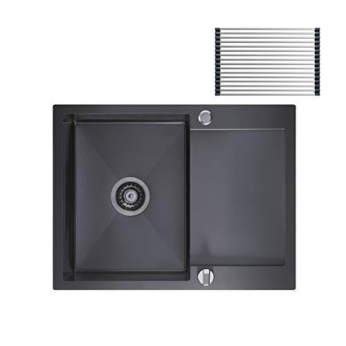CECIPA Spüle 60*45 cm ab 40er Unterschrank Küchenspüle mit Über-...