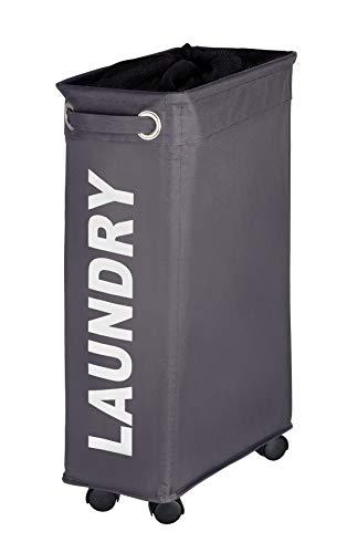WENKO Wäschesammler Corno grau, Wäschekorb extra schmal für kleine...
