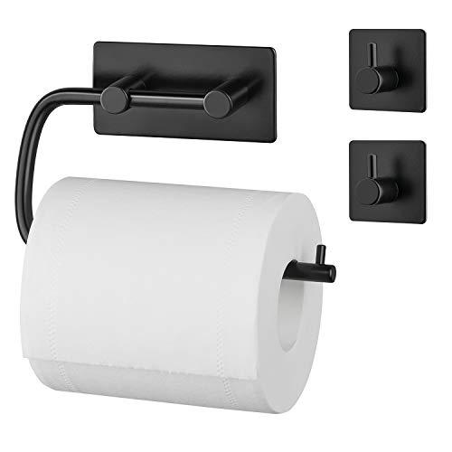 Amazon Brand – Umi Toilettenpapierhalter mit Zwei Haken ohne Bohren,...