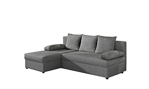 MOEBLO Ecksofa mit Schlaffunktion mit Bettkasten Couch L-Form...
