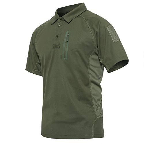 KEFITEVD Outdoorshirt Herren mit Zip-Tasche Kurzarm Golf Polo...