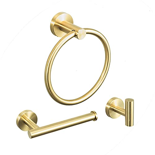 LOSCHEN Badezimmer Zubehör Set Gold Wandmontage Edelstahl Gebürstet...