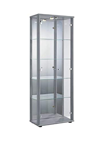 K-Möbel Glasvitrine in Silber (176x67x33 cm) mit 4...
