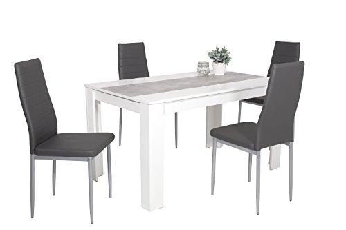 5-tlg. Essgruppe Lilo, Holzwerkstoff weiß/betonfarbig, Stuhl...