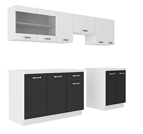 Küche Omega 240 cm Küchenzeile Küchenblock variabel stellbar in...