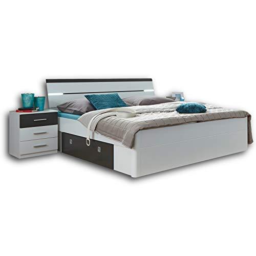 Stella Trading MARS Stilvolle Doppelbett Bettanlage 180 x 200 cm mit...