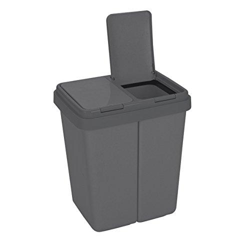 Ribelli Zweimer Duo Müllbehälter mit Deckel Kunststoff Mülleimer...