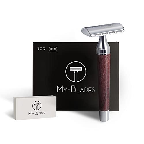 My-Blades® der 2in1 Rasierhobel aus Holz mit 100x Premium...