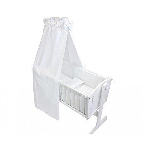 TupTam Unisex Baby Wiegen-Bettwäsche-Set 6-TLG, Farbe: Weiß, Anzahl...