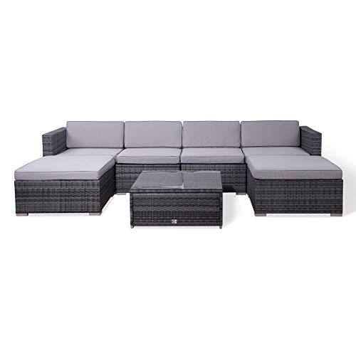 SVITA Lugano Poly Rattan Lounge Garten-Set XXL Sofa-Set Garnitur...
