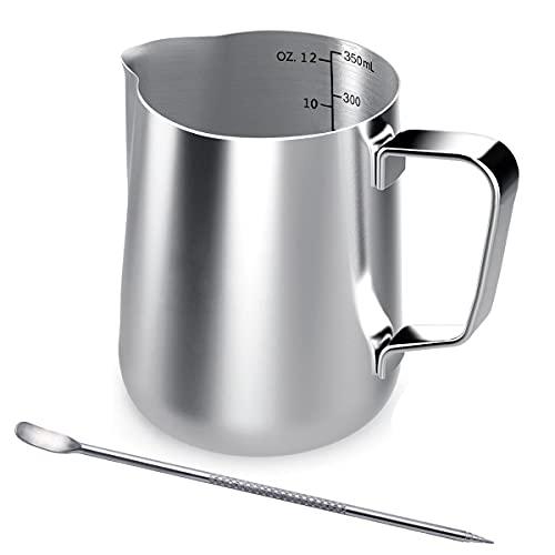 Milchkännchen, 350 ml Handheld Edelstahl Aufschäumkännchen, Kaffee...