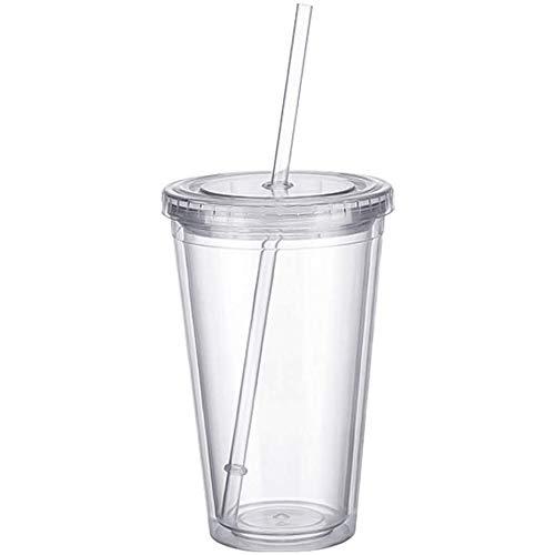 Plastikbecher Mehrweg doppelwandig Tasse Becher Deckel mit Mehrweg...