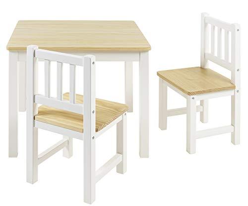 BOMI Stabile Kindersitzgruppe Amy 2 Stühle u. Tisch aus Kiefer Massiv...