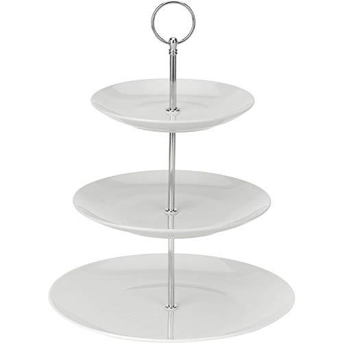 Excellent Houseware 628900040 Etagère Porzellan, 3-stufig, weiß, 3...