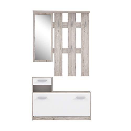 FORTE Kompaktgarderobe inklusive Spiegel, Sandeiche Dekor, 97.5 x 25 x...