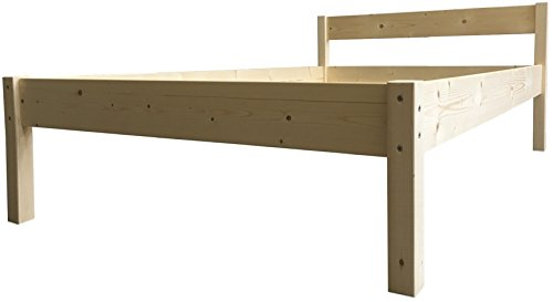 LIEGEWERK Seniorenbett erhöhtes Bett Holz mit Kopfteil Betthöhe 55cm...