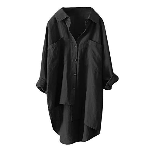 HWTOP Lang Bluse Hemd Chiffon Damen V-Ausschnitt Elegant Business...
