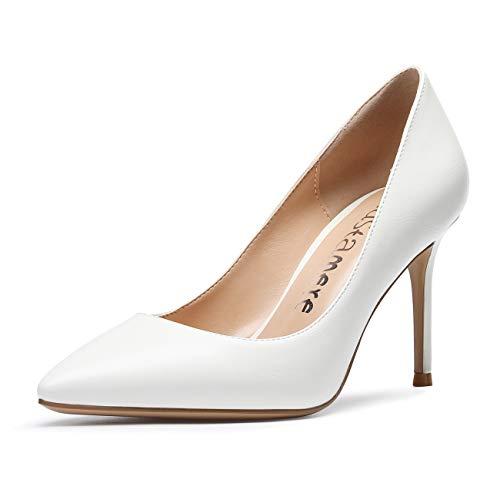 CASTAMERE Damen High Heels Spitzen Pumps 8.5CM Stiletto Heels PU Weiß...