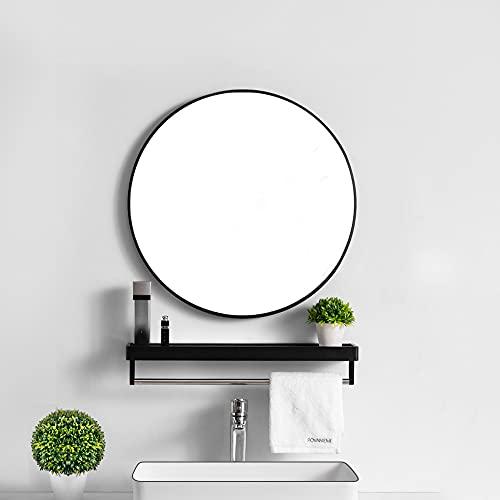 Lekesky Wandspiegel Rund Spiegel Schwarz 45cm Flurspiegel...