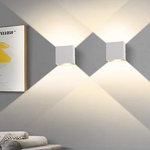 2 Stücke LED Wandleuchte, OOWOLF 6W Up Down Indoor Wandleuchte...