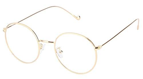Lukis Brille Nerdbrille Retro Rund Unisex Metallgestell Brillenfassung...