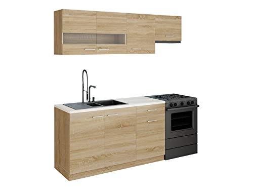 Mirjan24 Küche Bode mit Arbeitsplatte, Küchenblock/Küchenzeile, 5...