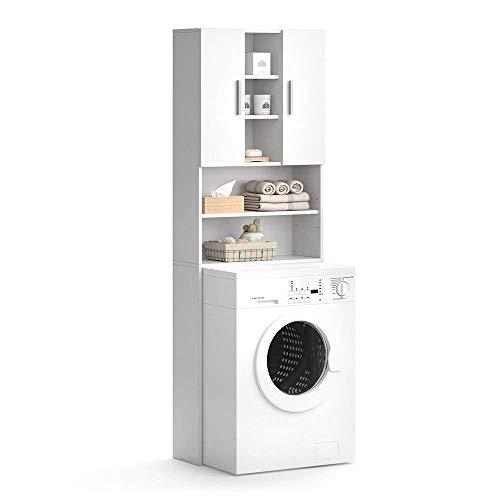 Vicco Waschmaschinenschrank LUIS Weiß 190 x 64 cm - Badregal...