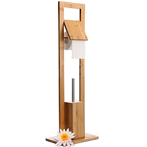HEIMWERT WC Garnitur Toilettenpapierhalter Klobürste - Premium Bambus...