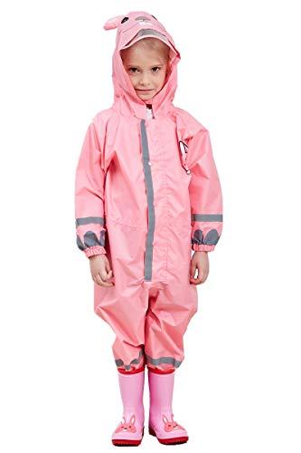 TURMIN 3D Kinder Regenmantel mit PVC Hutkrempe, Mädchen Jungen...