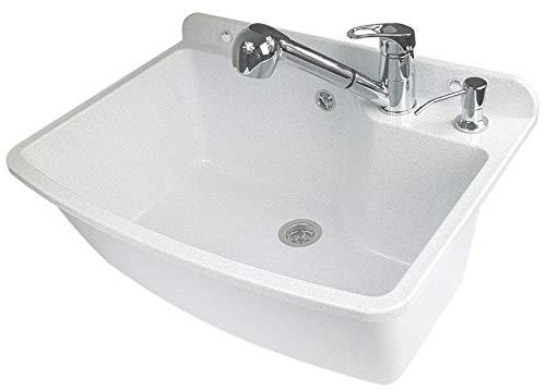 GOSPO Ausgussbecken mit ausziehbare Armatur, Waschbecken 61 x 44 x...