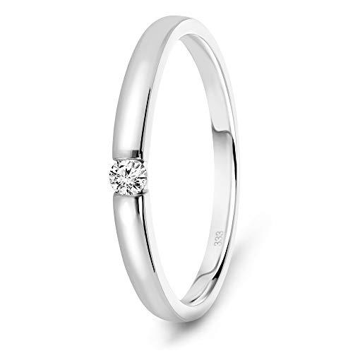 Miore Ring Damen 0.05 Ct Solitär Diamant Verlobungsring aus Weißgold...