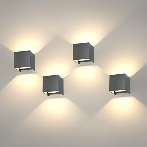 K-Bright 4 Pack 12W LED Wandleuchten, einstellbares Lichtstrahldesign,...