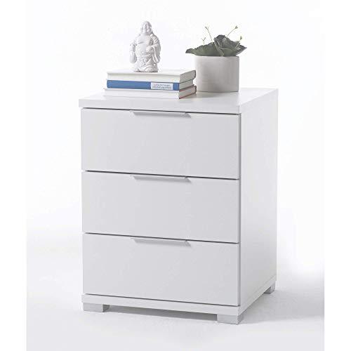 Universal Nachttisch in Weiß - Moderner Nachtschrank mit drei...